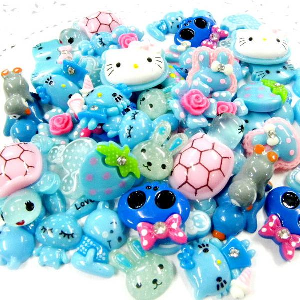 ML080 x Upick Mixed Cute Blue Tone Color Resin Flatbacks Scrapbooking Kids Craft