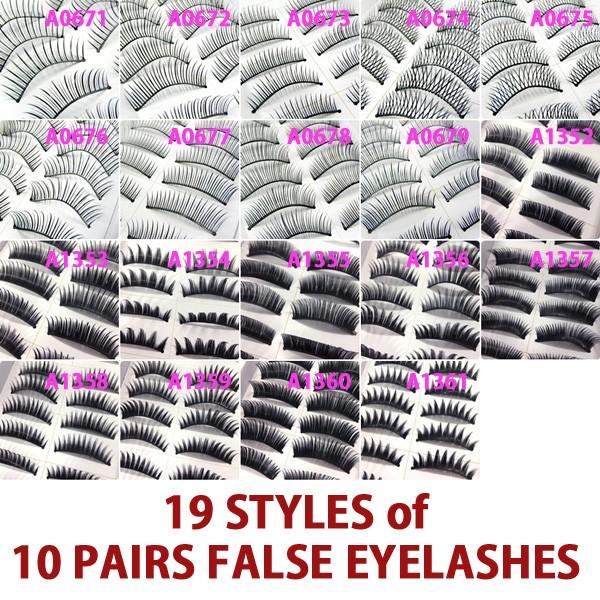A0671P-x10Pairs-UPICK-Long-Black-Natural-False-Fake-Eyelashes-Lashes-Full-MakeUp