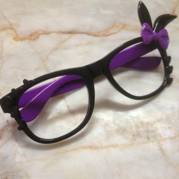 1pcs UPICK COLOR Hello Kitty Bunny Bow Glass Frame NO LENS Woman Girl Kid A1373