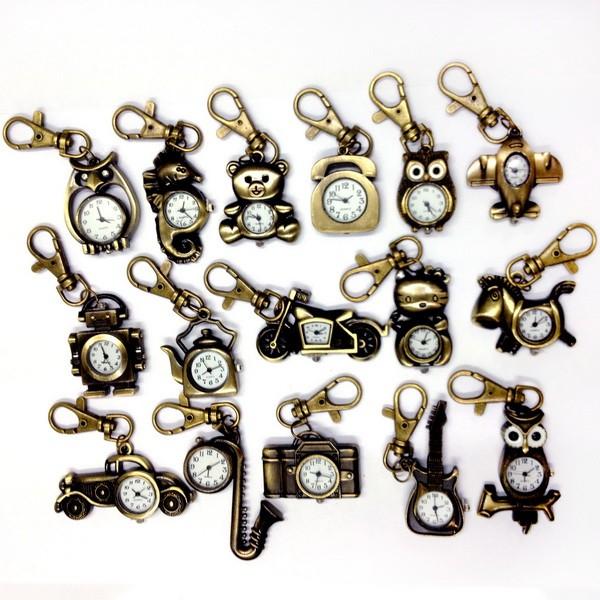 UPICK-NEW-Vintage-Bronze-Retro-Pocket-Key-Ring-Clip-Clasp-Bag-Watch-Quartz-A1455