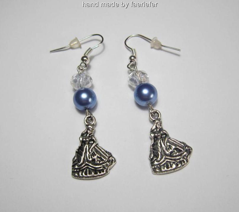 cinderella charm bracelet with blue glass pearl