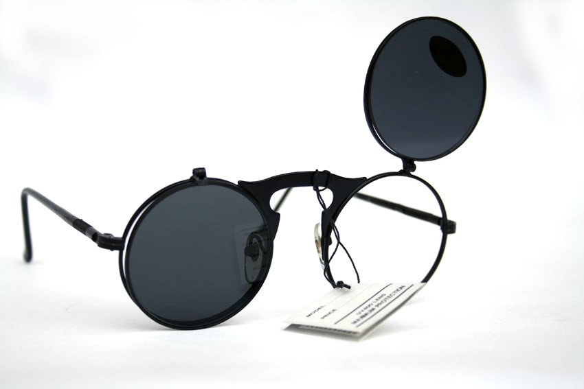 round black metal flip up sunglasses model Hi Tek HT-006-FLU