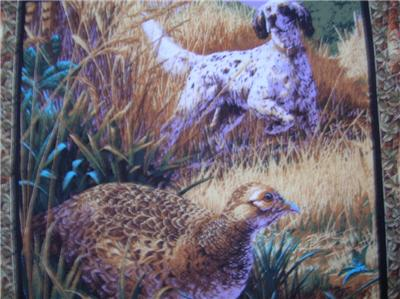 New Pheasants Birds Hunting Dogs Fabric Panel