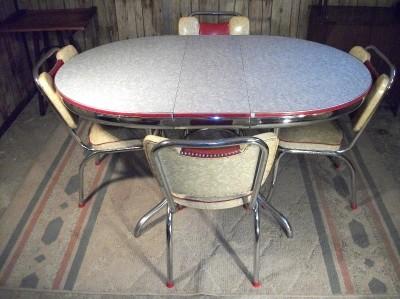 Rare vintage formica chrome retro art deco kitchen table chairs 1950s modern - Vintage chrome kitchen table ...