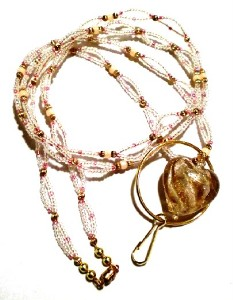 LANYARD ID BADGE PINK & GOLD FOIL HEART & PINK BEADS