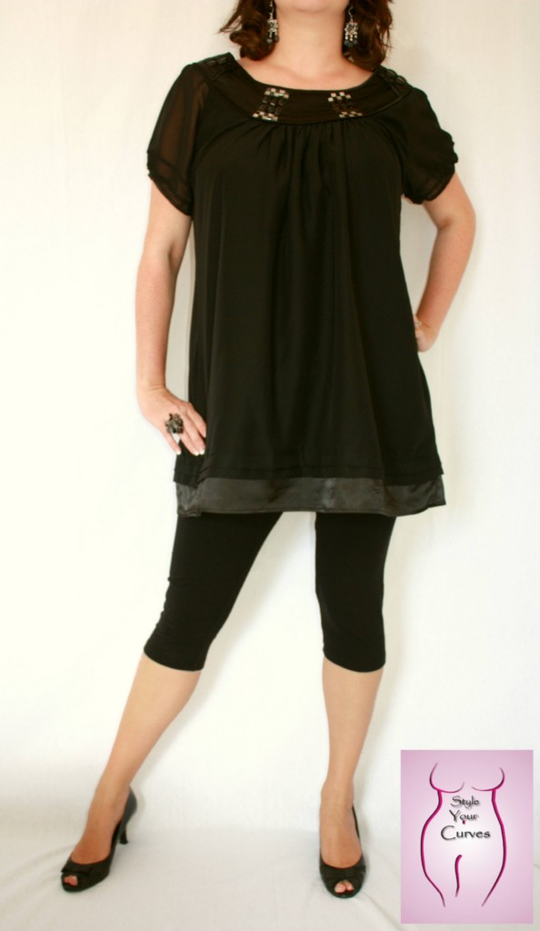NEW-Long-Black-Chiffon-w-Satin-Edge-Babydoll-A-Line-Tunic-Dress-Top-Sz-16-18
