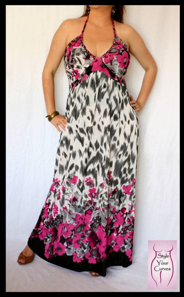 NEW-Long-Pink-Black-White-Maxi-Party-Beach-Cocktail-Tie-Halter-Dress-Sz-14-16
