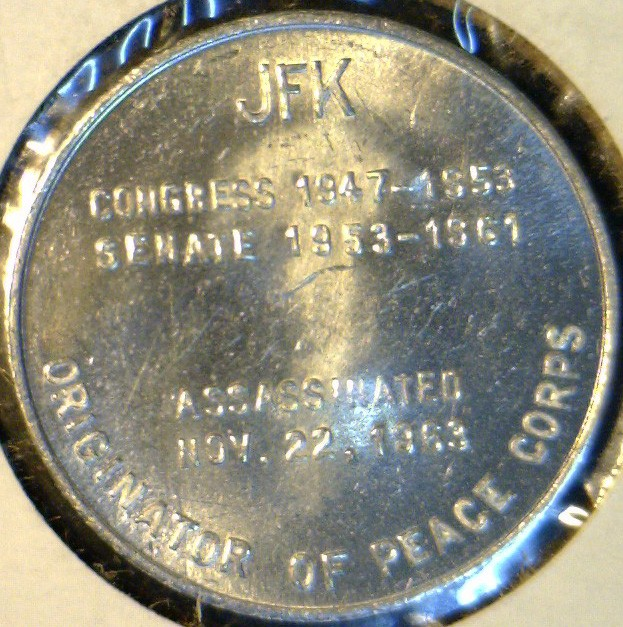 1963 John F_ Kennedy Coin http://www.ebay.com/itm/1963-John-F-Kennedy-JFK-US-MINT-Commemorative-Token-Coin-/140638433792