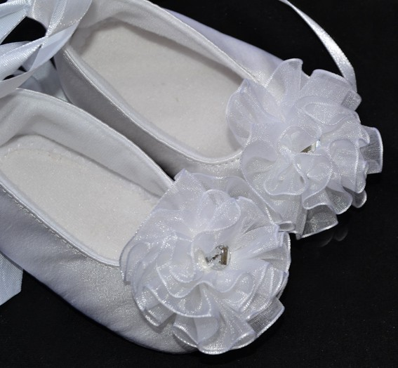 white Christening soft baby girl shoes size 0 1 2 3 4