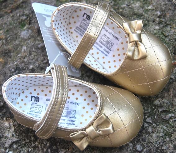 Gold Mary Jane toddler baby girl shoes UK size 2 3 4