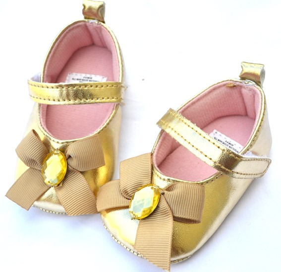 Gold bows Mary Jane baby girl shoes size 1 2 3