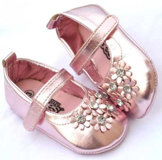 Silver pink flower Mary Jane toddler baby girl shoes size