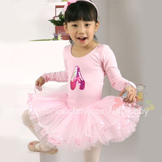 Pink-White-black-baby-toddler-Girl-Leotard-Ballet-Tutu-Costume-Dress-3-8-yrs
