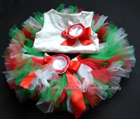 red-green-white-photo-prop-Girls-Petti-tutu-Birthday-Dress-Baby-Toddler-Tutu-set