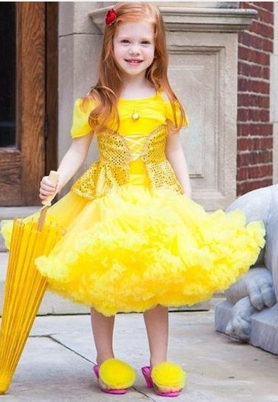 Princess Belle Dress Baby Toddler children party costume Tutu Girls petti Dress