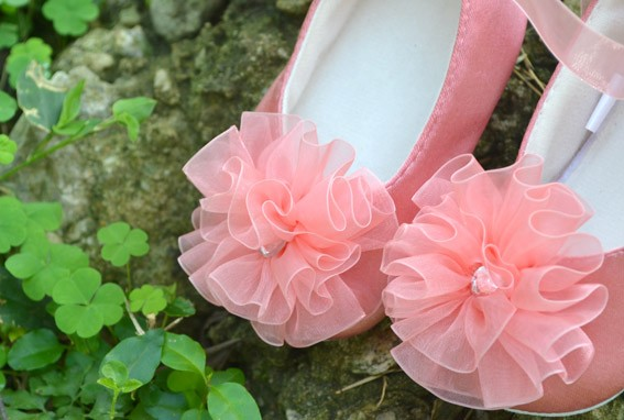 Ivory pink brown yellow infant toddler baby flower girl shoes size ...