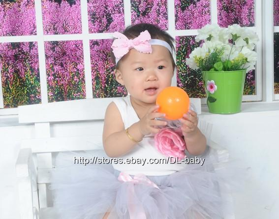 Gray Party Costume Toddler Baby Wedding Flower Girl Dress Tutu Skirt 6 12M 5T
