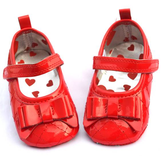 Red Baby Girl Shoes Mary Jane Infant Crib