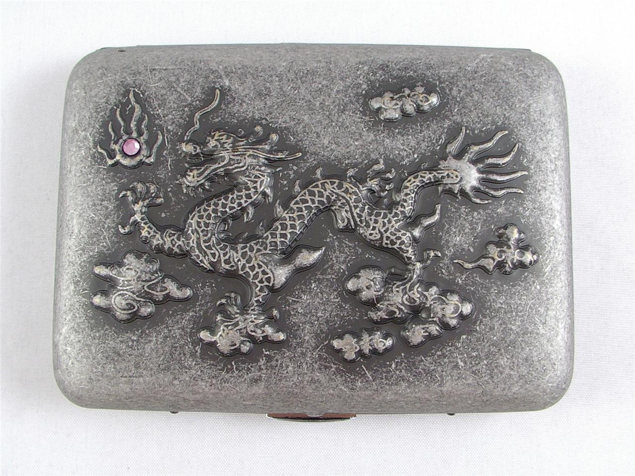 BUSINESS-CARD-CASE-CIGARETTE-TIN-HOLDER-MYTHICAL-DRAGON-PINK-GEM-METAL-NEW-BOXED