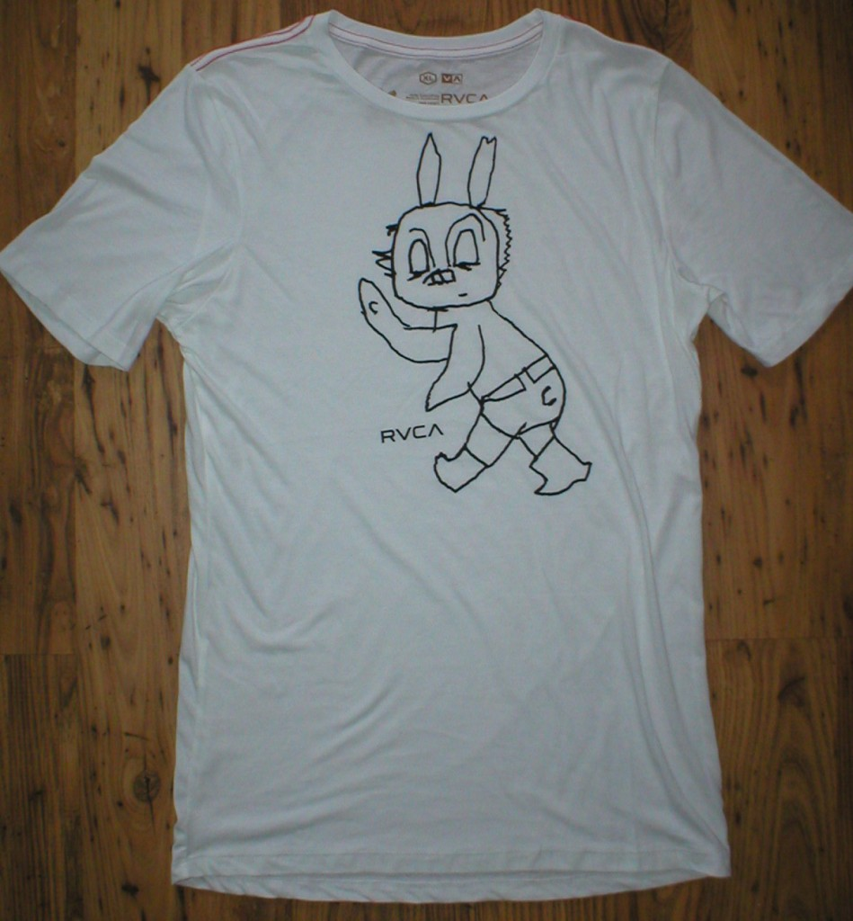RVCA-NEW-mens-Tee-T-shirt-White-Rabbit-red-stitch-Artist-Network-Program-ANP