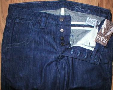 ELVIS NEW $100+ denim jeans women Straight Leg button fly Dark Blue Authentic | eBay