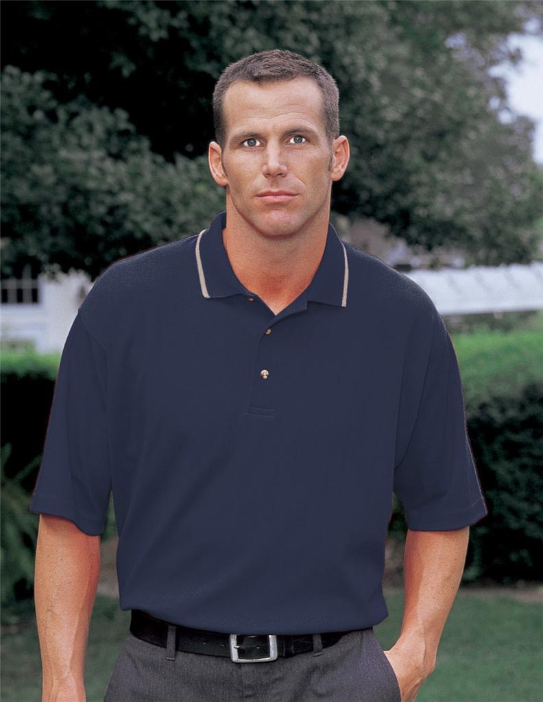 Mens brand new tri mountain polo shirt top navy blue cttn for Mens 5x polo shirts