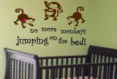 no more monkeys jumping on the bed vinyl wall decal. Black Bedroom Furniture Sets. Home Design Ideas