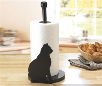 cat design kitchen paper towel roll holder rack stand dispenser. Black Bedroom Furniture Sets. Home Design Ideas
