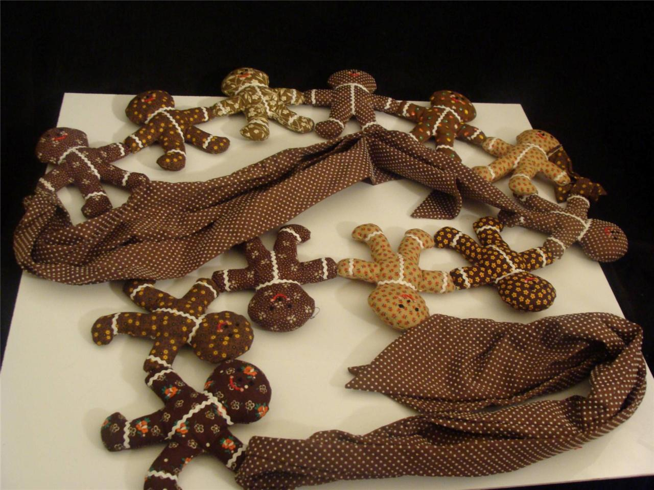 Primitive Gingerbread Man Handmade Fabric Plush Garland