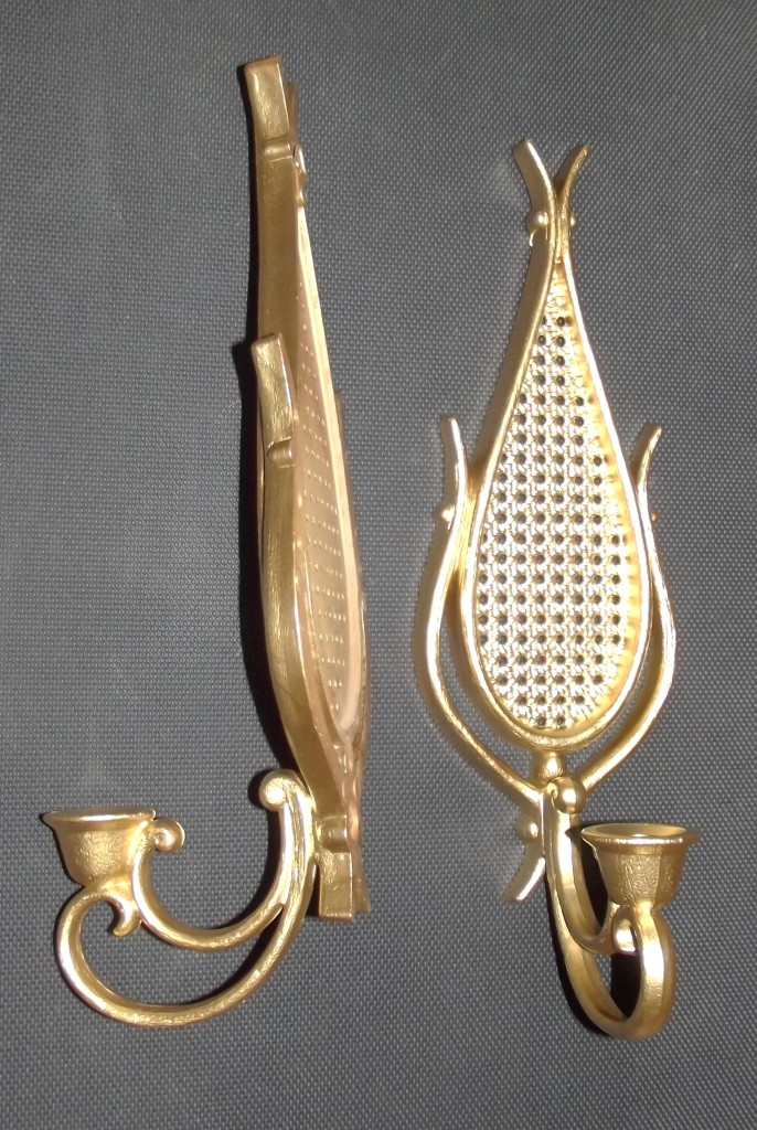 vintage pair homco home interior candle wall sconces vtg large 35 quot dart homco home interior syroco gold 5 arm