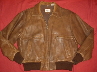 Vintage Adam Spencer Distressed Brown Leather Bomber Aviator