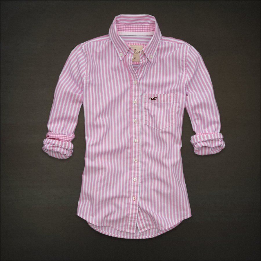 2012 hollister by abercrombie womens shirt brooks street for Pink white striped shirt