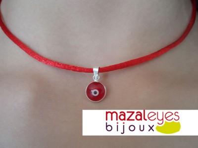 collier fil rouge tour de cou bijoux fantaisie choker argent pendentif oeil 925 ebay. Black Bedroom Furniture Sets. Home Design Ideas