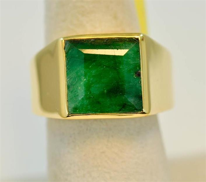 NATURAL RAW EMERALD MAY BIRTHSTONE 18K GOLD VERMEIL MENS RING r0228 D9121