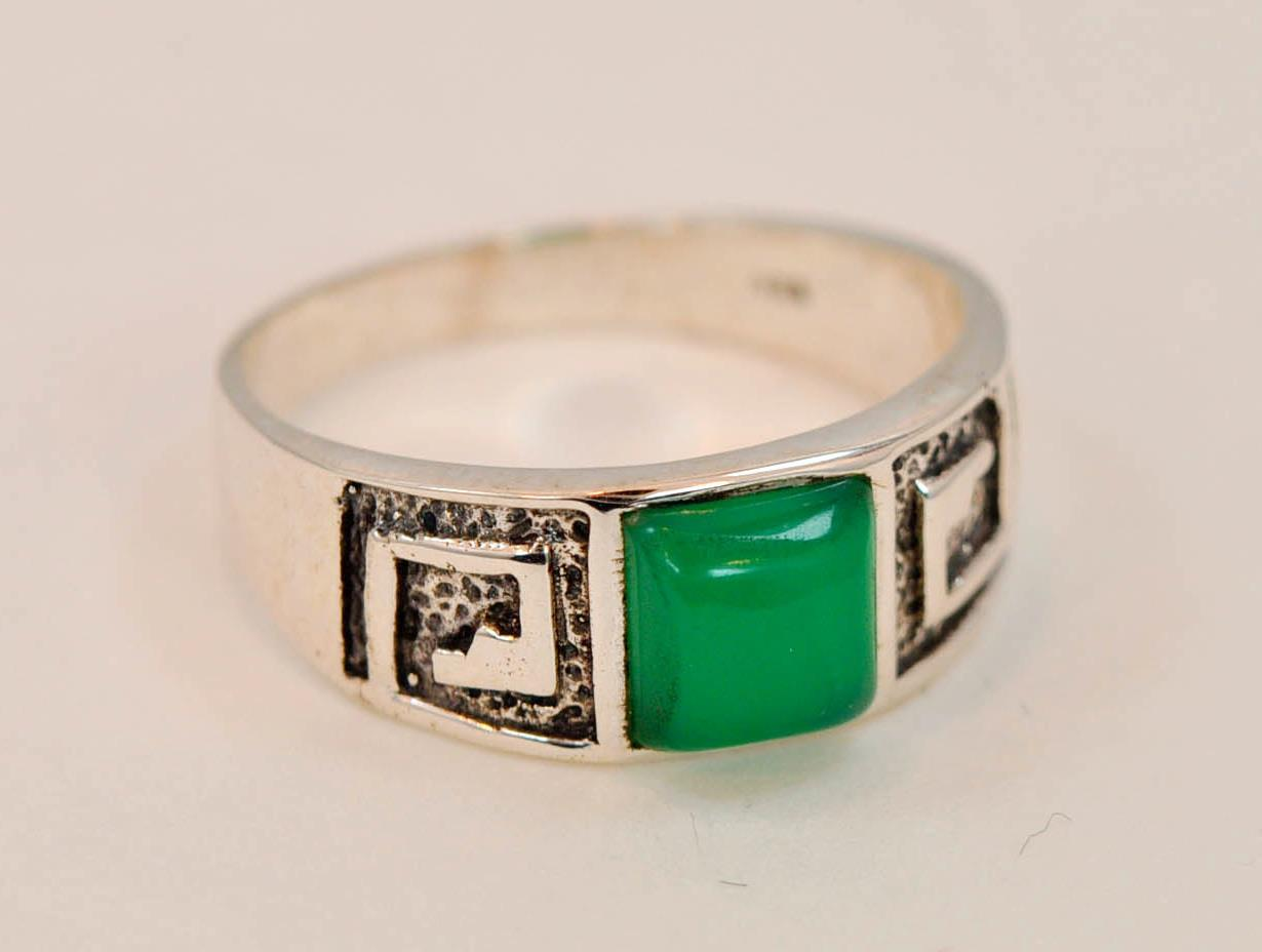 vintage style green onyx 925 sterling silver mens