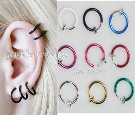 New-clip-on-fake-piercings-stud-hoop-nose-lip-ear-rings-punk-goth-unisex
