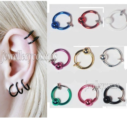 Clip-on-Fake-hoop-nose-lip-ear-rings-gold-silver-Colour-Piercings-New-Fancy
