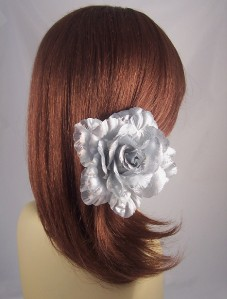 METALLIC GLITTER FLOWER Hair Accessory Clip Ponytail Holder Pin Brooch