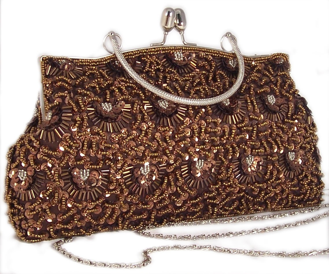 Fashion Nouveau Brown Evening Bag Satin Bead Sequin Vintage Look at Sears.com