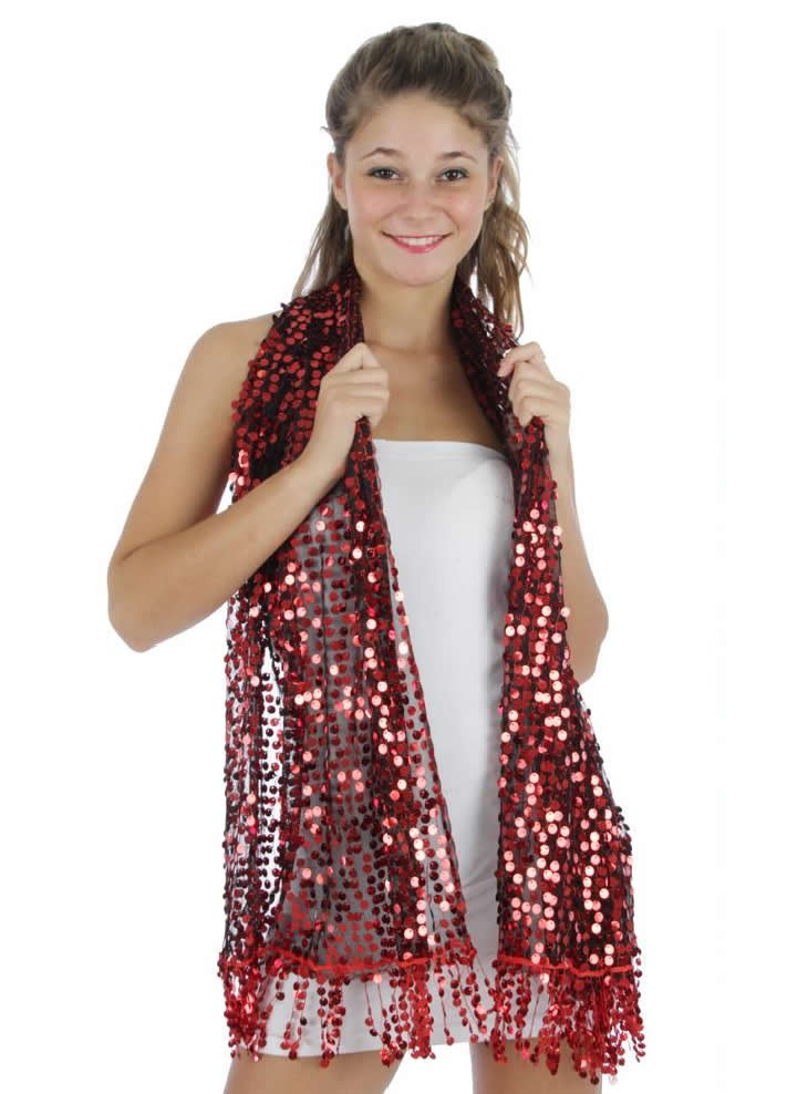 Fashion Nouveau Red Sequin Wrap Shawl Formal Party Scarf Black Sheer at Sears.com