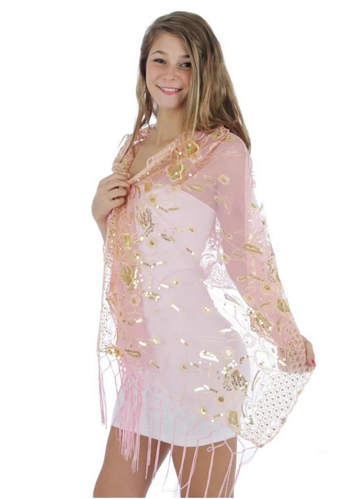 Fashion Nouveau Pink Wrap Shawl Gold Sequin Peacock Feather Fringe Scarf at Sears.com