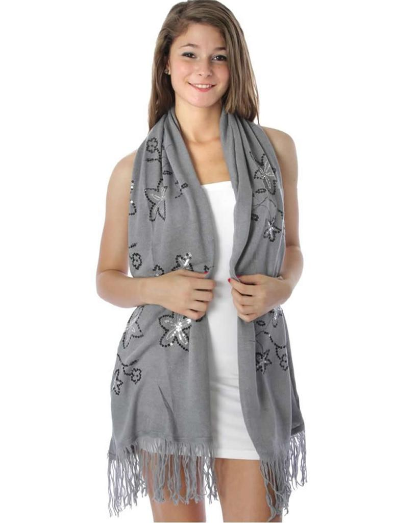 Fashion Nouveau Gray Knit Shawl Sequin Wrap Scarf Silver Black at Sears.com