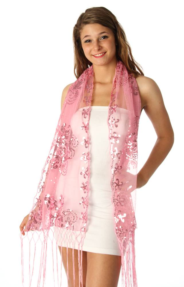 Fashion Nouveau Pink Sequin Shawl Wrap Sheer Formal Floral Party Scarf at Sears.com