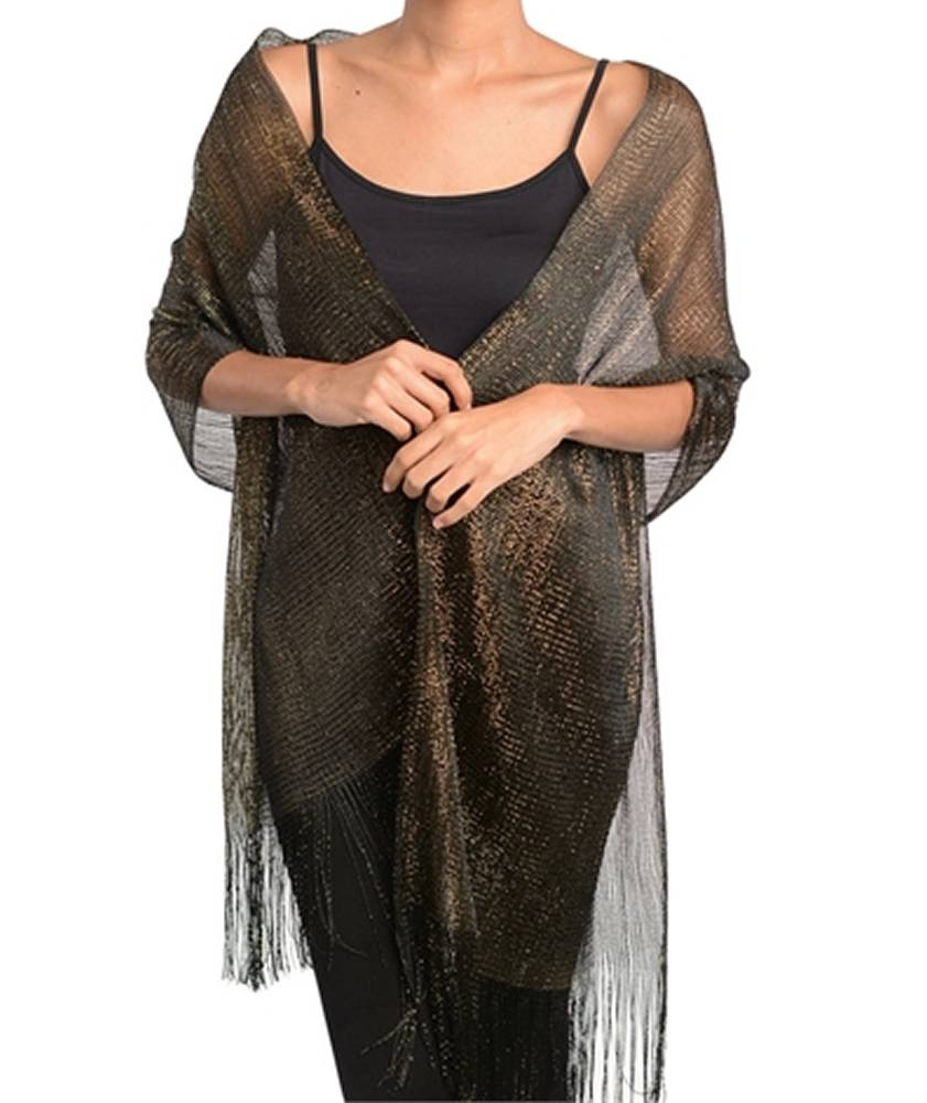 Fashion Nouveau Black Gold Metallic Shawl Wrap Shimmering Evening Scarf at Sears.com