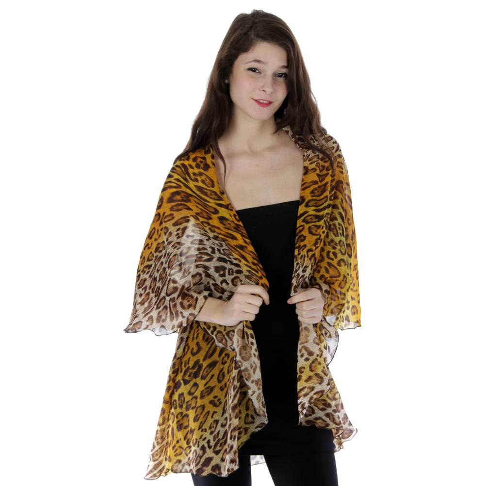 Fashion Nouveau Animal Print Wrap Vest Shawl Leopard Gold Brown Black Sheer Fabric at Sears.com
