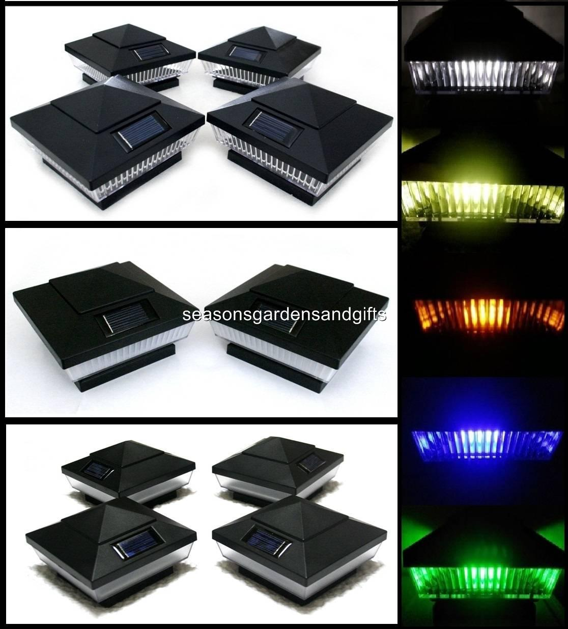 16 pk 4x4 black solar post deck cap fence lights 5 leds clear or. Black Bedroom Furniture Sets. Home Design Ideas