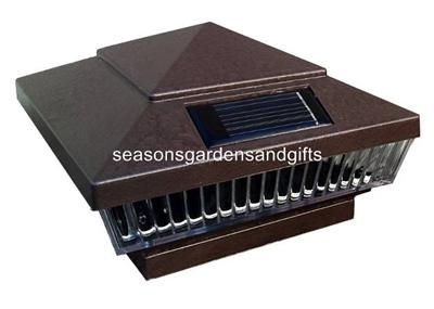 pk 5x5 6x6 hammered brown or grey solar post deck cap fence lights