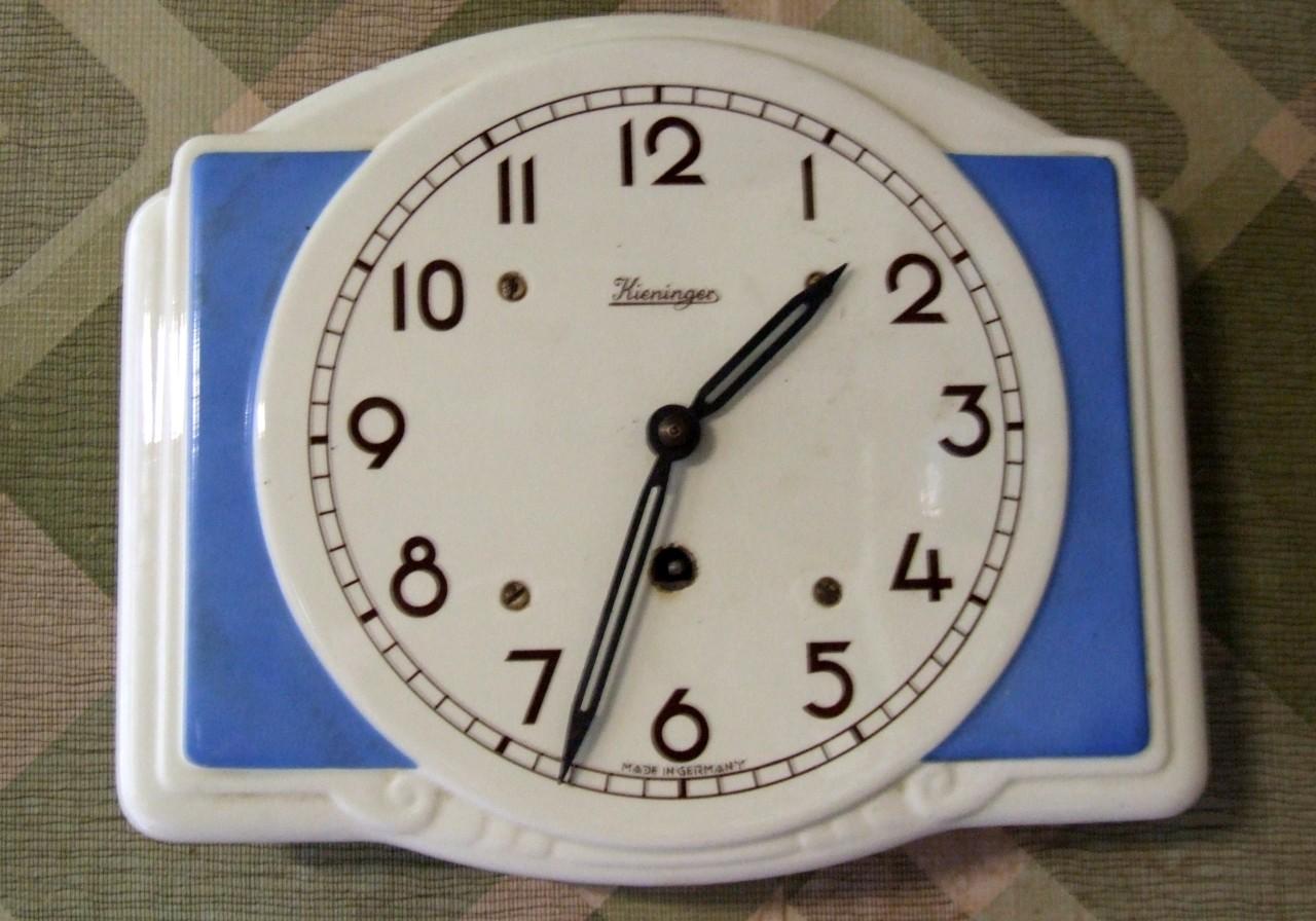 Vintage Ceramic Kitchen Clock Made in Germany Kieninger