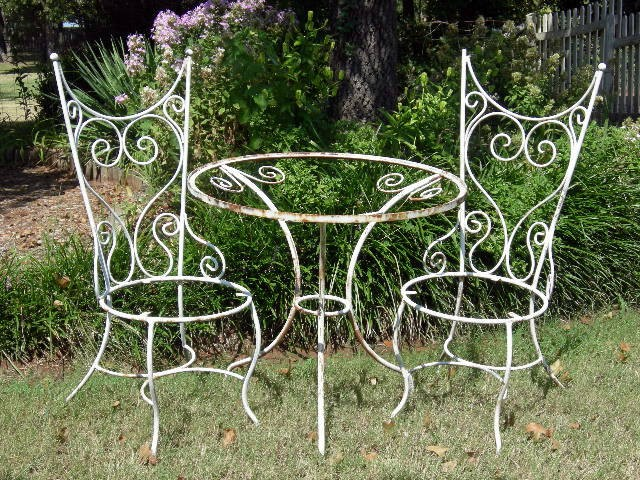 Omg Chic Old Shabby Wrought Iron Garden Table 2 Chairs