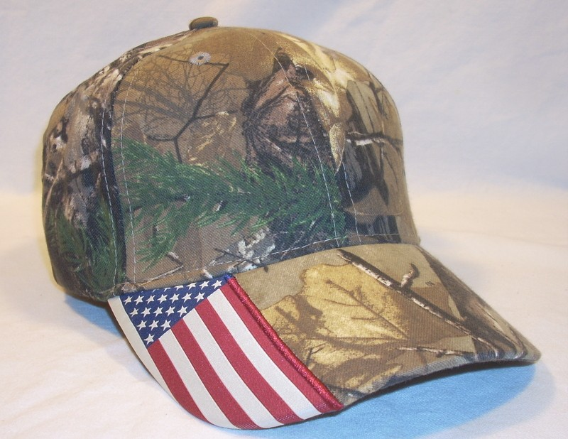 Realtree camo camouflage american flag visor baseball cap for American flag fish hat